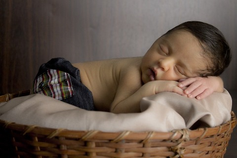 Mouth Nose Eyes Basket Hand Sleeping Baby