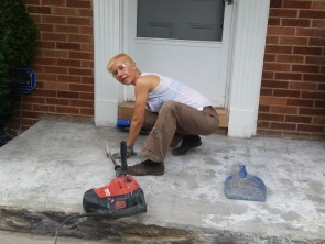 Cleaning the cement prior to tiling