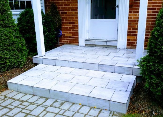 finished tile porch