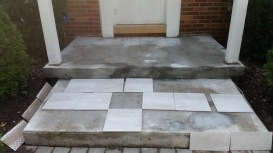 laying out the tiles to make sure of the design fitting